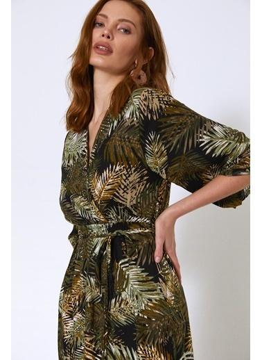 Quzu Palmiye Desenli V Yaka Elbise Haki